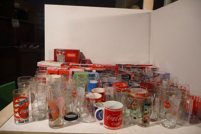Large collection of 115 Coca-Cola glasses