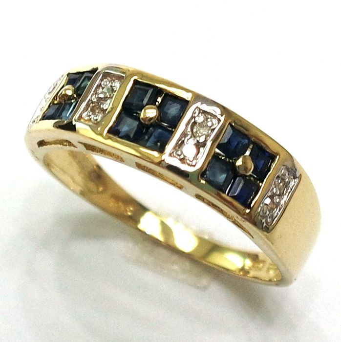 14CT Yellow Gold Square Cut Natural Sapphire & Diamond Ring Size N 1/2