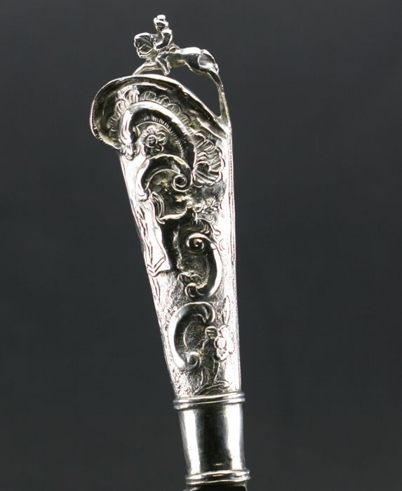 A Louis XV knife with silver handle, probably German, mid 18th century