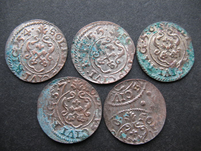 Riga under Sweden Charles X Gustav 1654-1660 - Lot of 5 silver Solidus