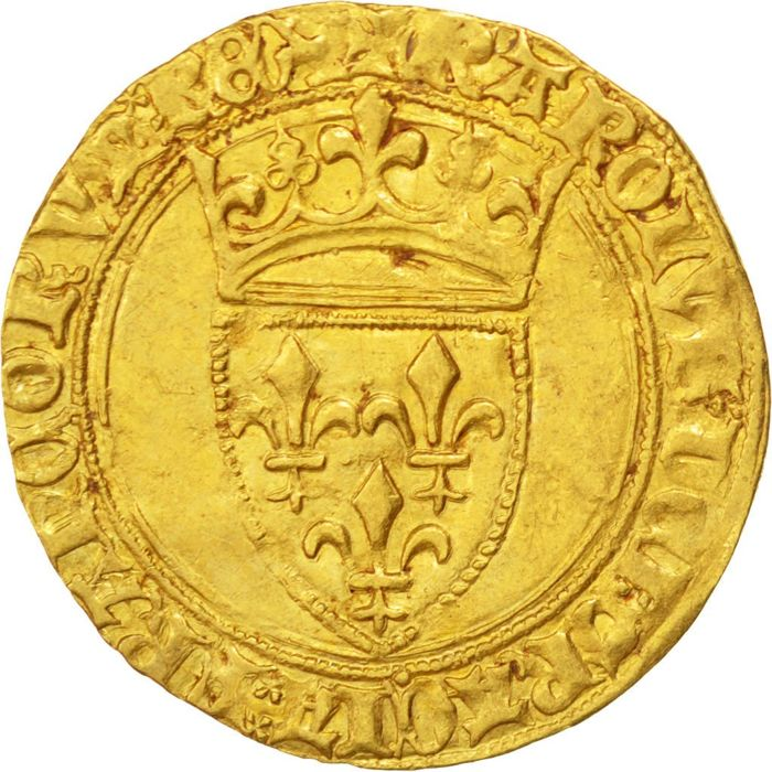 France – Charles VI (1380-1422) – Gold ecu with crown (Troyes) – gold