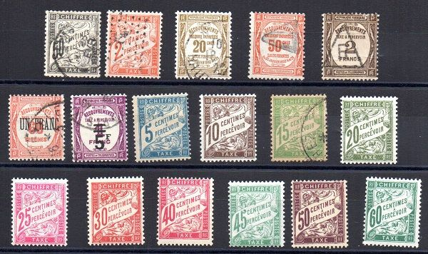 France 1892/1931 - Selection of Postage Due stamps  - Yvert between n° 20 and 65
