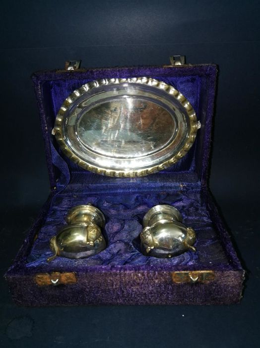 2-piece condiment set, salt shaker and pepper shakers with saucer, all silver-plated, and provided with original case