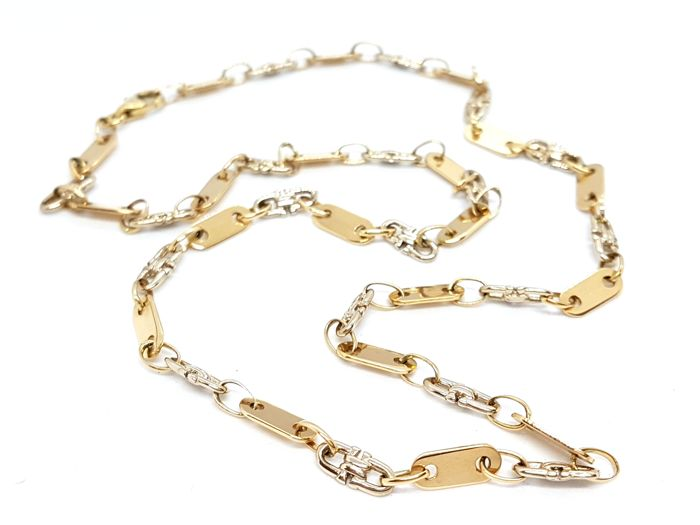 Necklace - 18 kt yellow and white gold - Two-tone - length: 45 cm