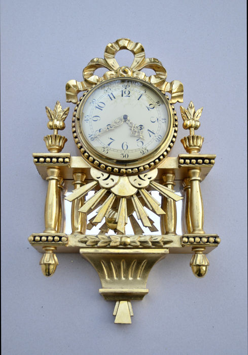 Swedish gold-plated hand carved wall clock  with German movement c 1950 Gustavian style