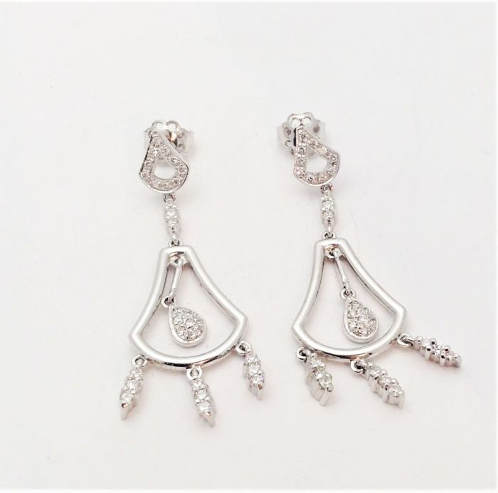 18 kt white gold dangle earrings - diamonds - new - 100% handmade in Italy
