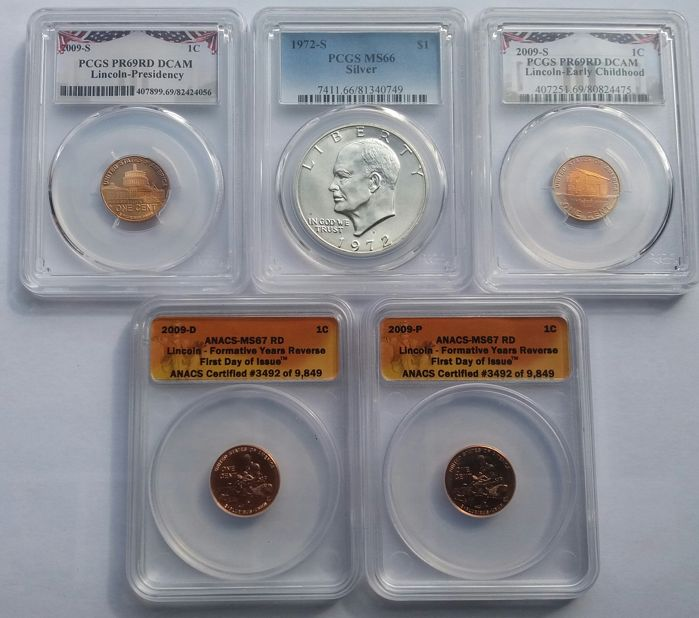 United States - Cents 2009 'Lincoln' (4 pieces + Dollar silver 1972 'Eisenhower' in Slabs
