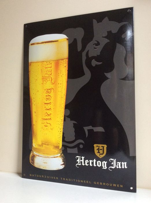 "Convex enamel model advertising sign "" Hertog Jan "" - image beer glass & text"