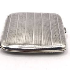 Large heavy antique ribbed silver cigarette box - ca. 1900