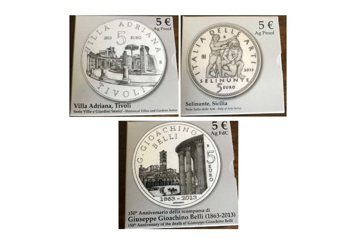 Italy - Lot of 3 x 5 Euro 2013 commemorative coins - Silver