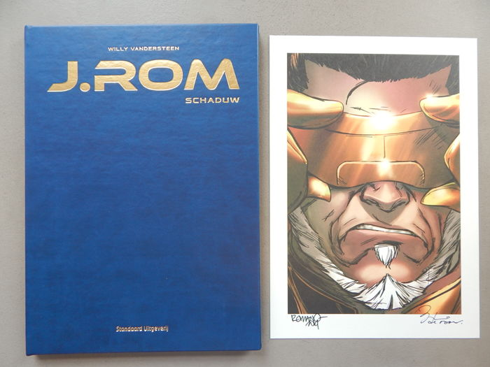 J.Rom #1 - Schaduw + signed print - artist's proof - luxury (artificial) leather hardcover - first edition (2014)