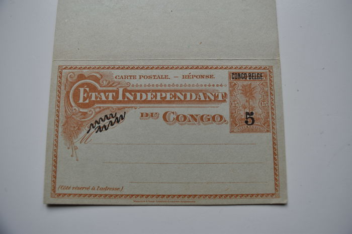 Etat Independant du Congo - 2 letters with print CONGO BELGE corresponding with a paid reply