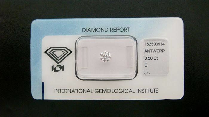 Round diamond colour D, internally flawless certified, engraved and sealed 0.50 ct