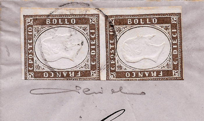 Sardinia 1860 - Cisappennino Province of Modena, 10 Cent  greyish dark  brown, vertical pair on letter from Modena to Genoa (11/2/1862) - Sass  No  14A
