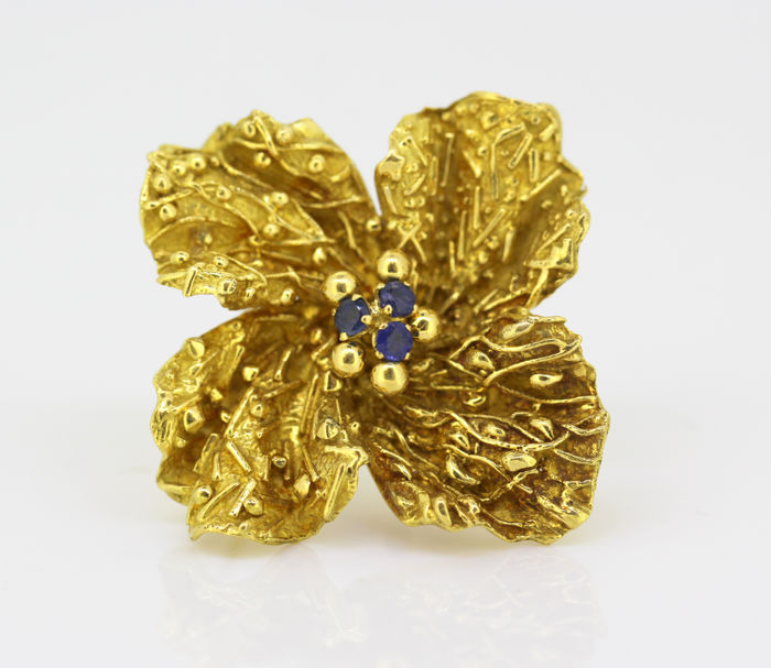 Tiffany & Co - Vintage 18k gold brooch with blue sapphires (0.15 ct), made in Italy Circa.1970's