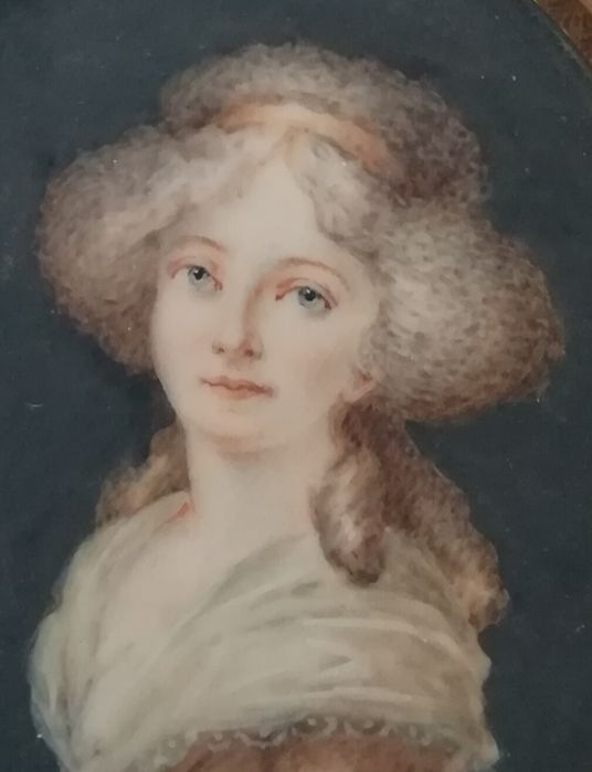 French School: portrait of a blue-eyed girl - miniature watercolour on ivory - France - circa 1790/1810