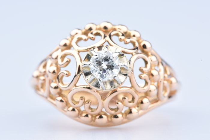 18k Yellow gold ring with 1 diamond of approx. 0,25 kt - size 56