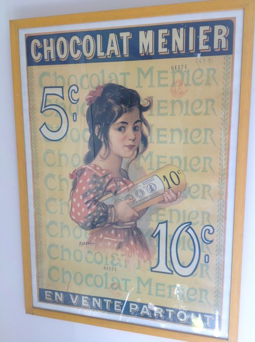 Old advertising posters in glass frame