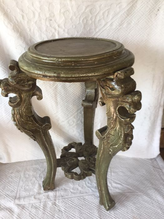 Hand carved plant stand - hand painted wood-20th century