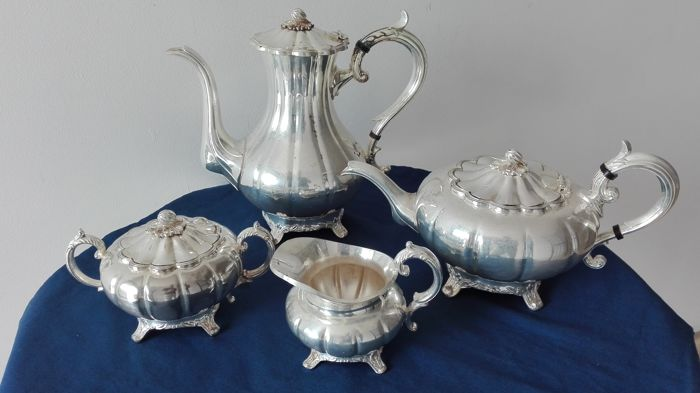 "Antique Victorian tea set - ""Silver Plated Sheffield England"""
