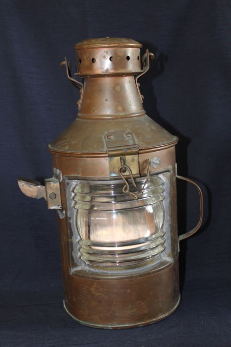 Old ship's lamp, Morse lamp in original condition - copper