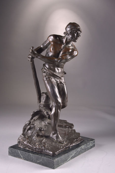 Georges Colin (1876-1917) - large bronze sculpture 'Le pagayeur' on marble base - France - circa 1910