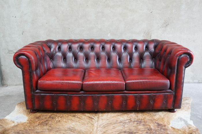Red Leather Padded Chesterfield Style Sofa Circa 2000 England
