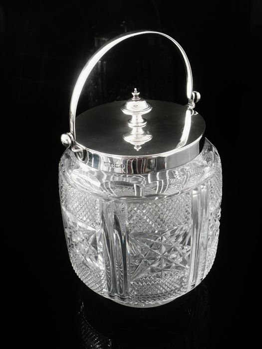 Silver & Cut Glass Biscuit Barrel - James Deakin & Sons (John & William F Deakin) - Sheffield - 1899