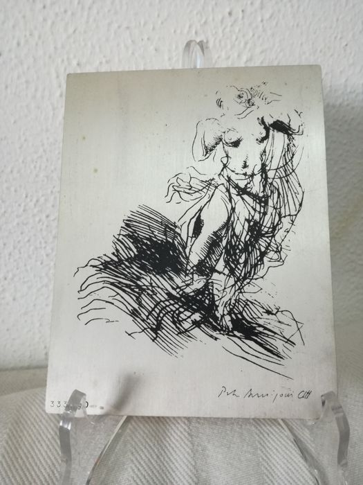 Artwork on silver plate by Pietro Annigoni, Italy, 1950s