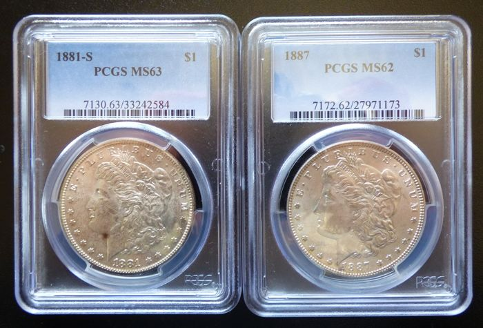 United States - Dollar Morgan 1881S + 1887 in PCGS - silver