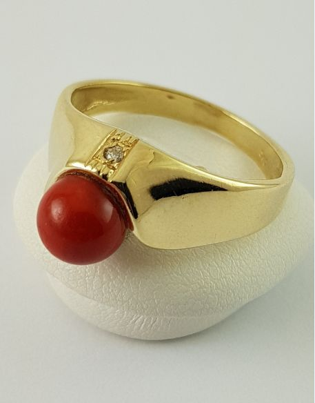 14 kt. Yellow gold - Coral ring - 585 yellow gold - real red coral Coral - Diamond