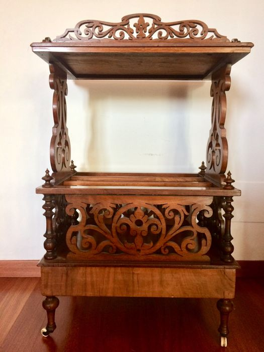 A Victorian walnut canterbury whatnot - England, 19th century