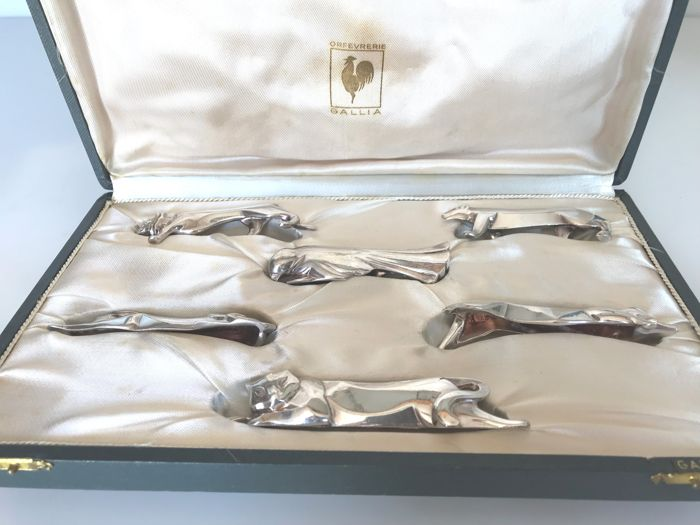"Christofle, Gallia collection, by ""Edward Marcel Sandoz"" (1881-1971) - boxed set of 6 knife-rests shaped like animals"