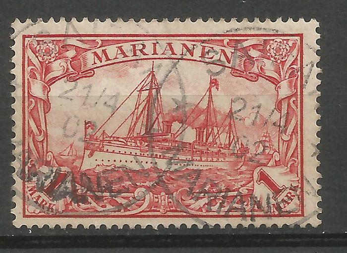 German Empire, 1901 1 and 2 Mark stamp MARSHAL ISLANDS Michel number 22#23, Mariana Islands; 1, 2, 3 Marks Michel number 16#18