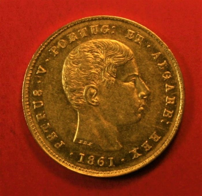 Portugal Monarchy – D. Pedro V ( 1853-1861 ) – 5,000 Reis – 1861 – Gold
