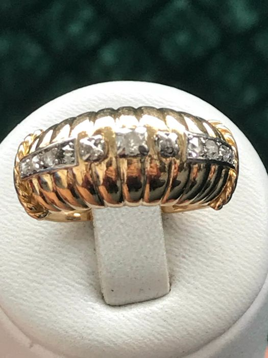 Vintage gold and platinum ring set with diamonds - size 55/17.50 mm