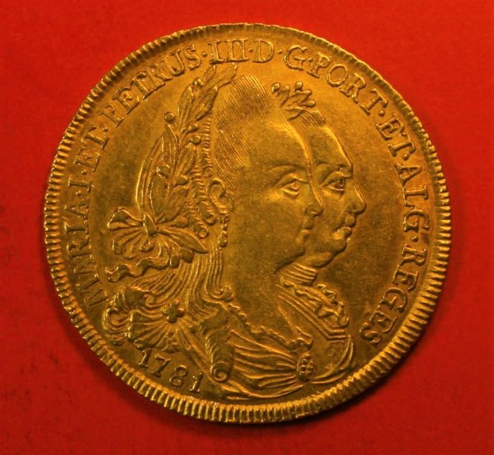 Portugal, Monarchy – Maria I and Pedro III (1777-1786) – Peça (6,400 Reis) – 1781 – Lisbon – Gold