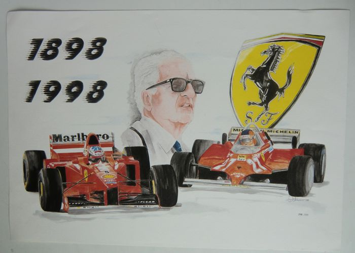 Art print of a watercolour 'Ferrari 1898-1998'