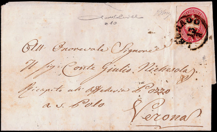 Lombardy-Venetia 1866 - Fragment of postal card, 5 Soldi carmine pink on letter from Legnago to Verona - Sass.  No  10