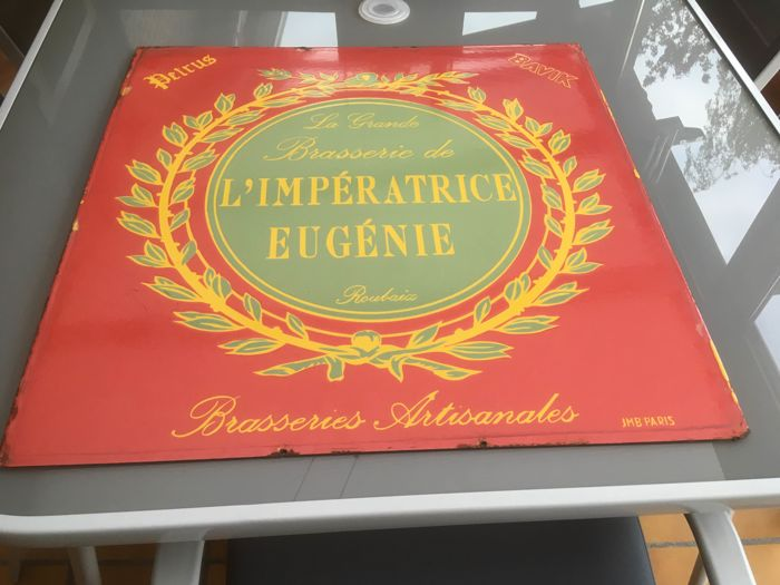 Enamel advertising sign La Grande Brasserie de L'IMPÉRATRICE EUGÉNIE - 2nd half of 20th century