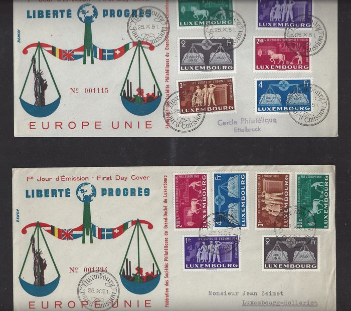 Luxembourg 1951 - 25 years European unity - Michel 478/483 FDC (2x)