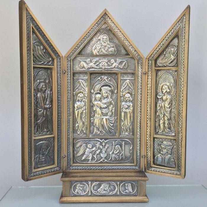 Antique solid silver & wood Triptych