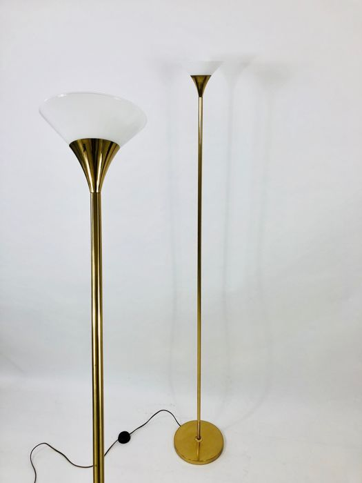 Producer unknown - Pique brass floor lamp, 2 pieces