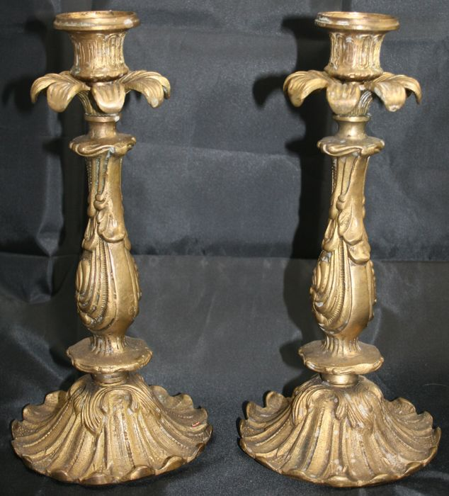 Pair of Louis XV Style Brass Candlesticks, 20th century