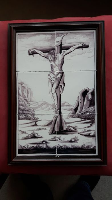 Manganese tile tableau depicting Jesus Christ on the cross at Golgotha, Rotterdam, 19th century