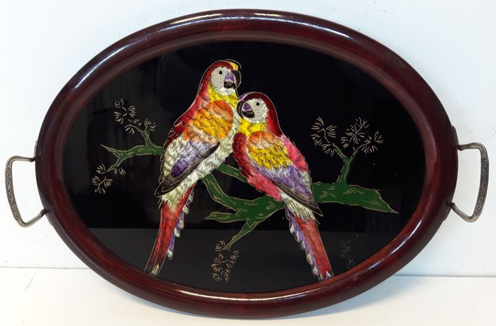 Serving Tray with parrots, France - 1st half of the 20th century - mahogany, silk and stained glass