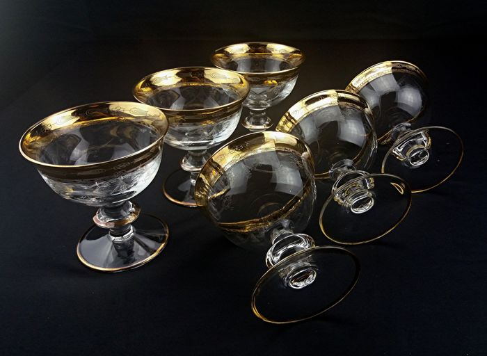 Cristal T Murano - Set of 6 glasses/bowls in crystal decorated with gold