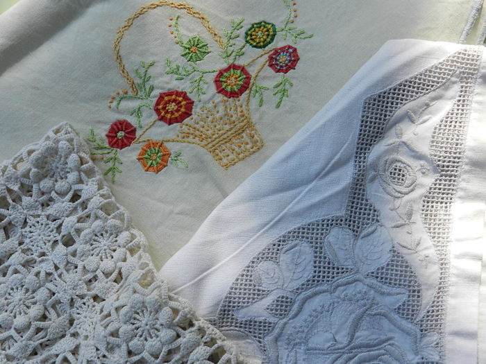 Three lovely table doilies - Richelieu - embroidery and crochet work.