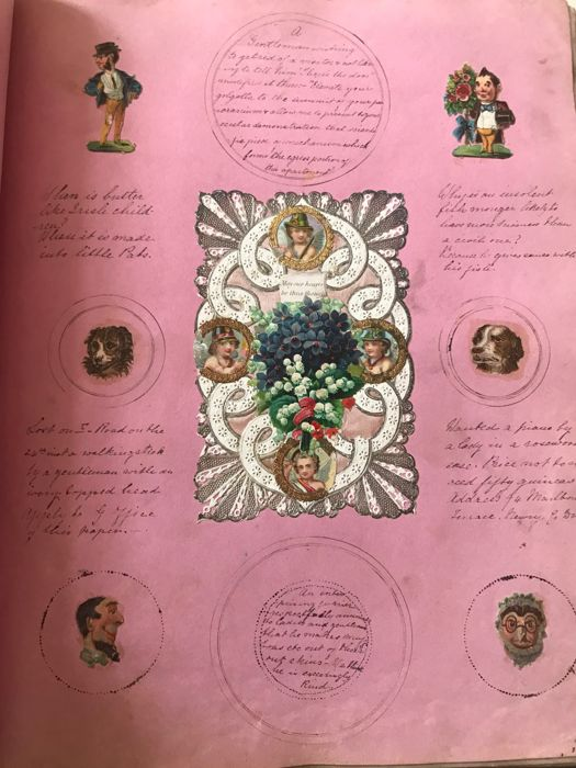 Harriette Elizabeth Johnson - Scrapbook of drawings and collages - 1869