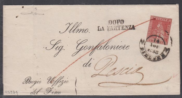 Tuscany 1851 - 1 Crazia carmine, single postage stamp used on letter from Florence to Pescia - Sass.  No  4